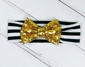 "Baby Girl Headband Black White Stripe Gold 4"" Sequin Sparkle Bow Photo Prop Baby Clothes Accessories Hairbow"