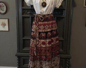 70s Elephant India Cotton Wrap Skirt