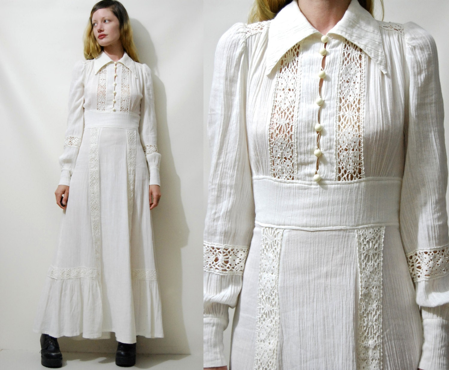 White Crochet Dress 70s Vintage CHEESECLOTH Lace Trim Puff