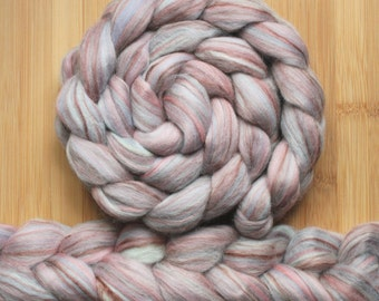 """Merino Bamboo 'ZEN Roving' in """"Cappuccino"""" colorway - Toffee brown, burgundy, lilac, pink, light blue blend - Spinning Braid Fiber"""