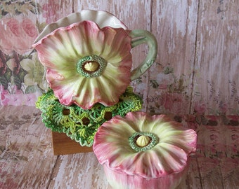 Fitz Floyd 1990 April Flowers Sugar Bowl and Creamer Pink, Yellow and Green
