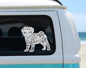 Pug Zentangle Vinyl Decal - Pug Vinyl Sticker - I love my Pug Decal