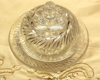 Vintage Child Size Toy- Round Butter Dish w/Lid Cut Glass, EAPG