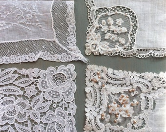 Lot of 4 Vintage White Handkerchiefs, Fine Lace
