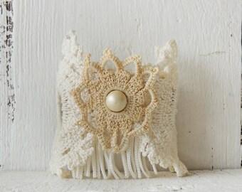 Rustic Romance Cuff Bracelet/Boho Cuff/OOAK Handmade Jewelry/Fiber and Fringe Cuff/Shabby Chic Cuff/Lace Cuff/Free Spirit Cuff/Boho Wedding