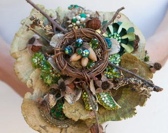 "Just ""Marry Me in the Forest, Beneath the Trees"" Rustic Vintage Spendor Woodland Forest Wedding Bokay Bouquet"