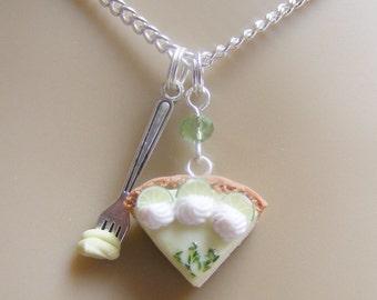 Food Jewelry Key Lime Pie Necklace, Miniature Food Pendant Mini Food Jeweller, Key Lime Pie Charm Pie Jewelry Slice of pie Polymer Clay food