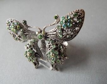 Art Nouveau silver filigree Green rhinestone butterfly brooche pin pot metal