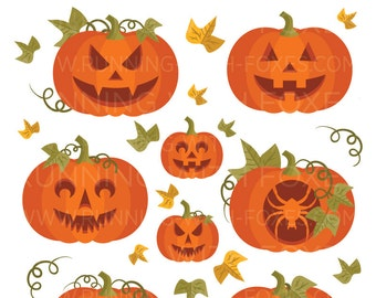 Carved Pumpkins Clip Art | Orange Garden Patch Vines Leaves Spooky Design | Digital Illustration Stock Icons | Personal or Commercial Use