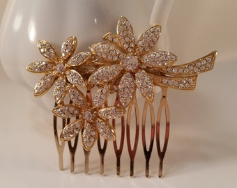 DAYBREAK Vintage Assemblage Rhinestone Bridal Hair Comb OOAK Daisies Couture Floral Garden Country Barn Woodland Outdoor Wedding