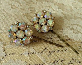 VINTAGE Assemblage Rhinestone Bridal Hair Pins Bride Mother of the Bride Elegant Aurora Borealis One of a Kind Champagne Amazing Sparkle