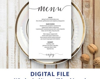 Wedding menu template 5x7 Rustic wedding menu printable Instant downolad Editable menu cards Kraft menu cards Minimalist Modern
