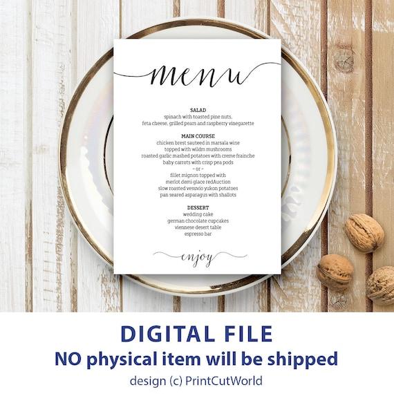 wedding menu template 5x7 rustic wedding menu printable. Black Bedroom Furniture Sets. Home Design Ideas