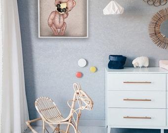 Clorful Teddy Bear Drawing Printable - Kids Wall Art - Printable Art - Nursery Room Decor - INSTANT DOWNLOAD