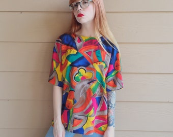 Abstract Art Bright Colorful Rainbow Boxy Oversized 90's Shirt // Women's size Medium M