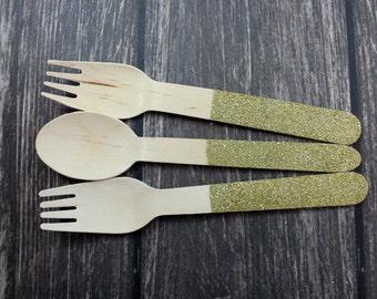Gold Glitter, Won't Rub off,  Sparkles, You Pick Utensil Type Wooden Forks Spoons Knives Wooden Utensils Silverware wedding, shower