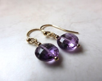 Amethyst and 14K gold fill earrings
