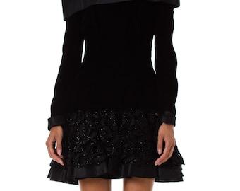 1980s Off the Shoulder Beaded Velvet Mini Black Dress SIZE: S, 4