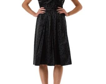 1950s Black Short Sleeve Surplice V-Neck Fit and Flare Dress SIZE: S, 4