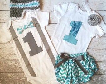 Twin First Birthday Outfits, blue and gray, bow tie for him bloomers for her, first birthday shirts for boy girl twins, birthday photo props