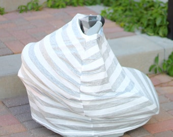 Gray and White Stripes Hold Me Close Stretchy Carseat Cover and Nursing Poncho all in one - Full Coverage Nursing Cover