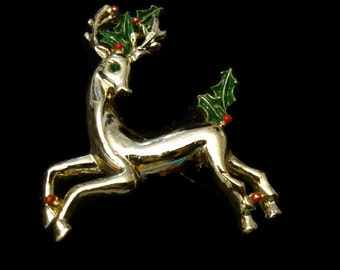 Vintage Reindeer Brooch, Gold Tone Rhinestone Christmas Brooch, Rudolph Pin, Holiday Jewelry