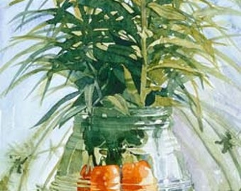 Carrots & flowers in a vase on picnic bench, Watercolour Giclée print