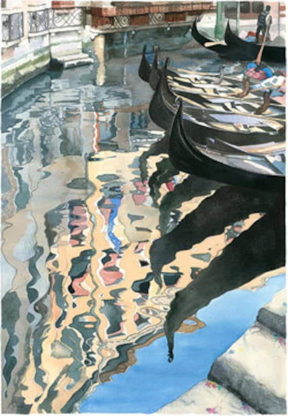 Watercolour Giclée print Venetian Gondolas with Venice reflected in water