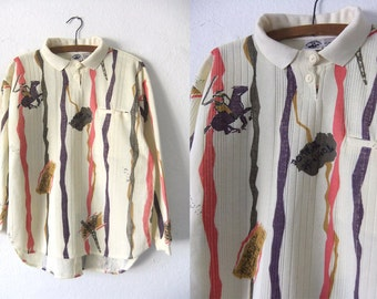PARIS Cream Color Textured Polo Shirt - Equestrian Print 90s Preppy Style Minimalist Chic Long Sleeve Shirt - Oversize Womens Small