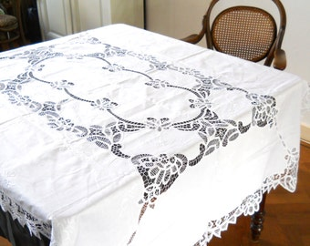 white embroidered tablecloth vintage Battenberg lace vintage white tablecloth battenberg tablecloth vintage lace tablecloth