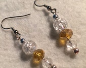 RESERVED for RENEE Dangle Pierced Earrings Silver Clear Crackle Glass and Smokey Amber Crystals