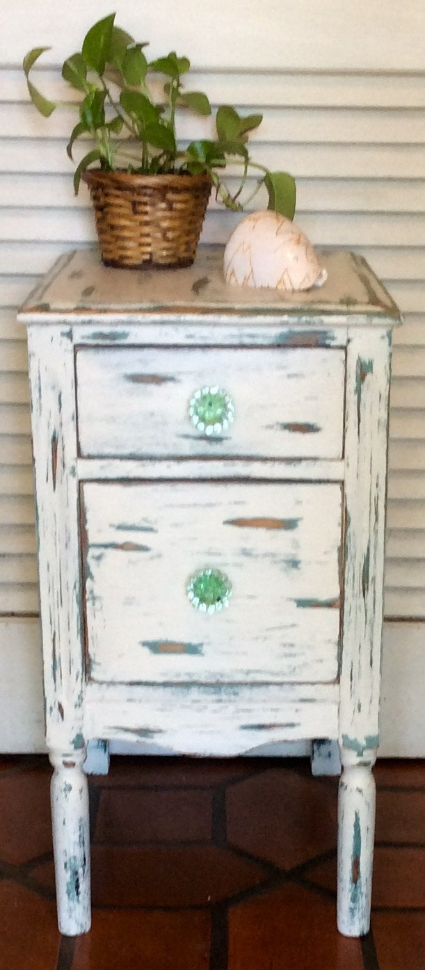 shabby chic white green nightstand 1930s. Black Bedroom Furniture Sets. Home Design Ideas