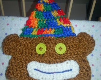 Infant party monkey hat, 0-3 months, fall hat, winter hat, baby shower gift,  Christmas gift,  holiday gift