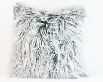 "White and  Grey  Fur Pillow Cover. Mongolian Faux Grey and White Fur Pillow. Fur Pillow. 16"",17"",18"",20"" 24"" 26"",Euro Sham or Lumbar Pillow."