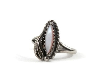 Navajo Sterling Ring with Mother of Pearl and Feather