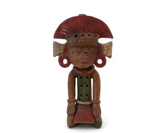 Aztec or Mayan Warrior Mexican Pottery Souvenir Pre-Columbian Style