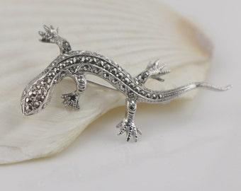 925 Silver Faux Marcasite Lizard Pin Back Brooch