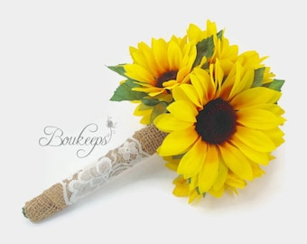 Sunflower Bouquet with Burlap and Ivory Lace, Sunflower Bridal Bouquet, Flower Girl Bouquet, Toss Bouquet, Sunflower Wedding, Sunflowers
