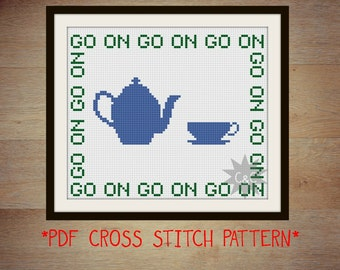 Father Ted Mrs Doyle 'Go On' cross stitch sampler PDF pattern