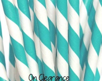 Aqua and White Striped Paper Straws