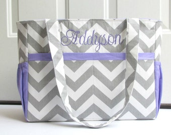 Personalized Chevron Diaper Bag in Gray and Purple or Choose Your Own 12 Pockets Zipper Closure Monogrammed Nappy