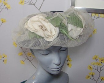 1940s Open Crown Navy Blue Netted Hat with Flowers Roses and Veiling