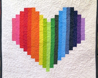 Rainbow Heart Quilt , Quilted Wall Hanging, Rainbow Wall Art, Pride Quilt
