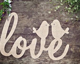 Love Birds Wood Puzzle Guestbook, Love Wedding Guestbook Puzzle, Love Guestbook Puzzle, Wedding Puzzle Guest Book, Wood Puzzle Guestbook