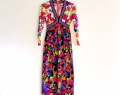 Vintage Italian Bright Floral Maxi / Bohemian Hostess Dress / Hippie Dress / Rainbow Trim Boho Dress / 60s