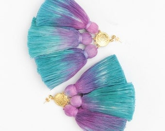 MAGIC 44 / Dyed cotton tassel & Metal statement earrings - Ready to Ship