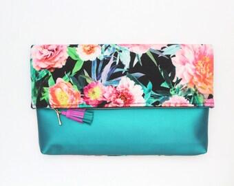 FALL HANDY 5 /Large clutch purse-floral handbag-fold over bag-teal leather bag-oversized floral bag-black teal pink neon- - Ready to Ship