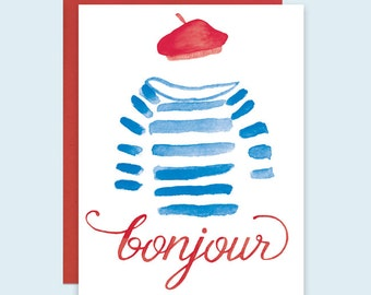 Bonjour Card, Bonjour French Greeting Card, Parisian Greeting Card, Paris Greeting Card, French Beret Card, Watercolor French Card, Bonjour