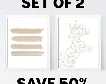 50% OFF, Beige Brown Wall Art - Temporary Offer - Only 1 Unit Available - INSTANT DOWNLOAD
