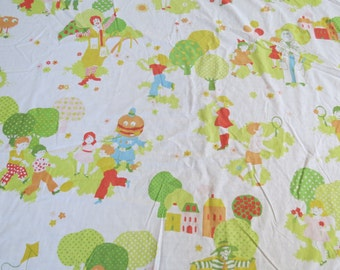 1970s Vintage Sheet - McDonalds Ronald McDonald & Friends - Twin or Single Fitted Childrens Sheet Mcdonaldland